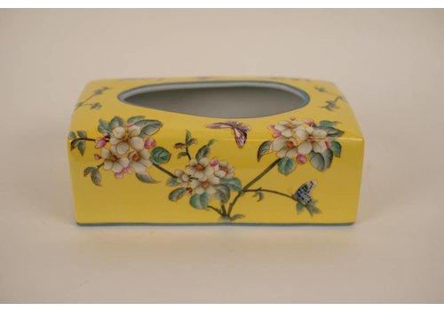 Fine Asianliving Chinese Tissuedoos Porselein Handbeschilderd Geel