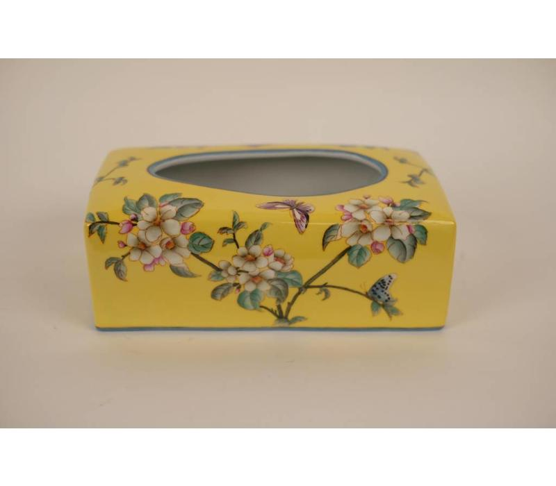 Chinese Tissue Box Porcelain Handpainted Yellow