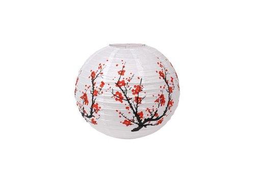 Fine Asianliving Papier de riz japonais Lampion Fleur de cerisier Sakura Blanc 40cm