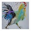 Fine Asianliving Tableau à Huile Imprimé Coq Chinois Peint à la Main L70xH70cm