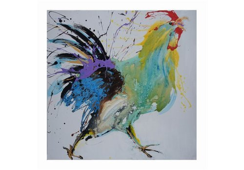 Fine Asianliving Oil Painting Chinese Rooster Handpainted 70x70cm
