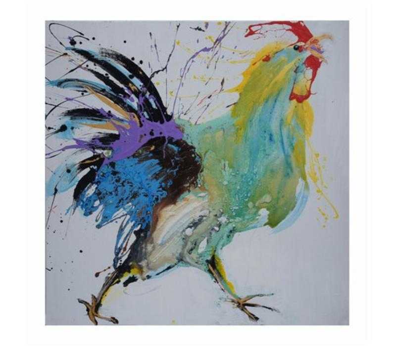 Oil Painting Chinese Rooster Handpainted 70x70cm