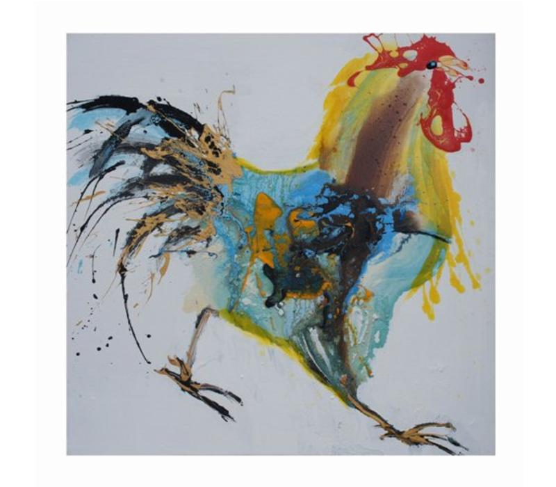 Oil Painting Chinese Rooster Handpainted 700x700mm