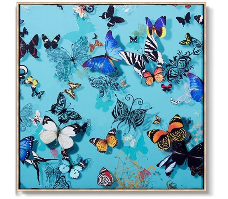 Oriental Painting Various Butterflies Blue Background