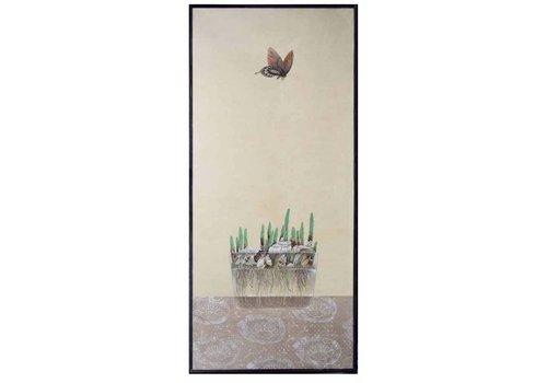 Fine Asianliving Oosters Schilderij Vlinder En Bloembollen