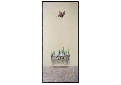 Fine Asianliving Oriental Painting Butterfly And Flower Bulbs