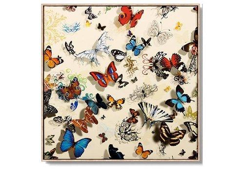 Fine Asianliving Tableau Décoration Murale Oriental Divers PapillonsFond Blanc