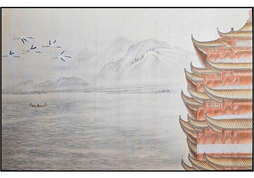 Fine Asianliving Oosters Schilderij Beschilderde Pagoda Temple Puur Zijde 1600x1040mm