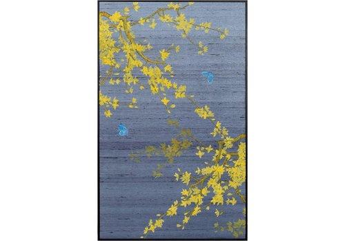 Fine Asianliving Tableau sur Toile Décoration Murale OrientalFeuilles d'automne sur 100% Pure soie 600x1000mm
