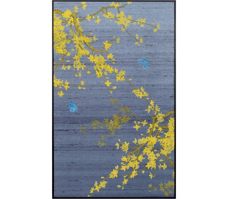 Tableau sur Toile Décoration Murale OrientalFeuilles d'automne sur 100% Pure soie 600x1000mm