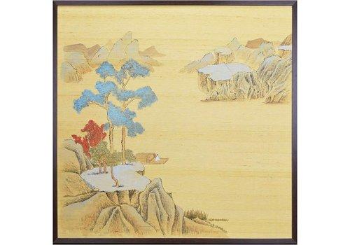 Fine Asianliving Oosters Schilderij Beschilderde Landschap op Puur Zijde 910x910mm