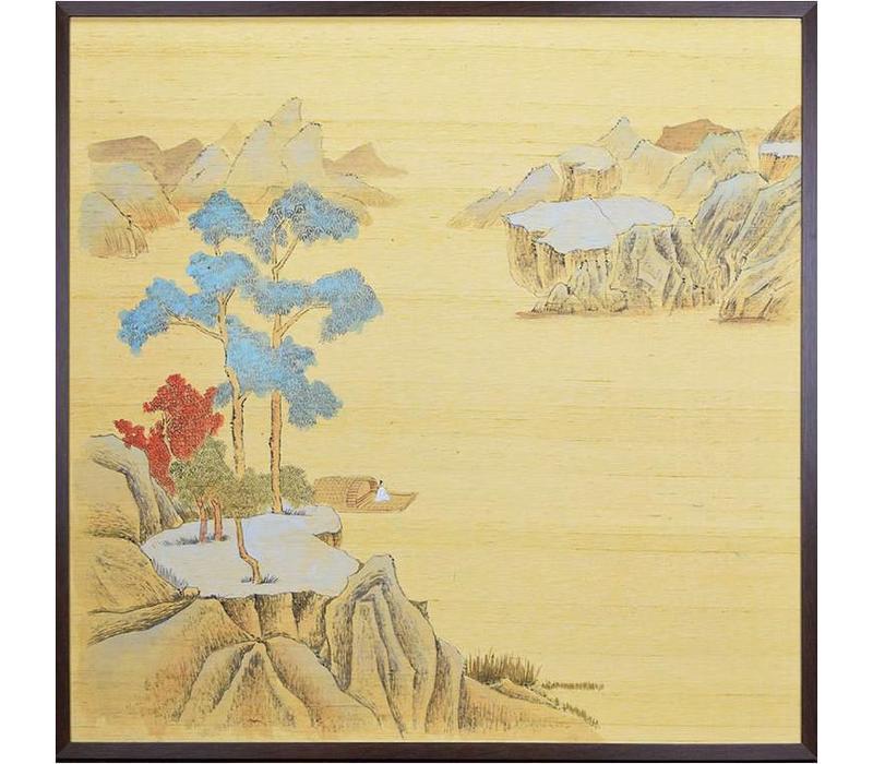 Oosters Schilderij Beschilderde Landschap op Puur Zijde 910x910mm