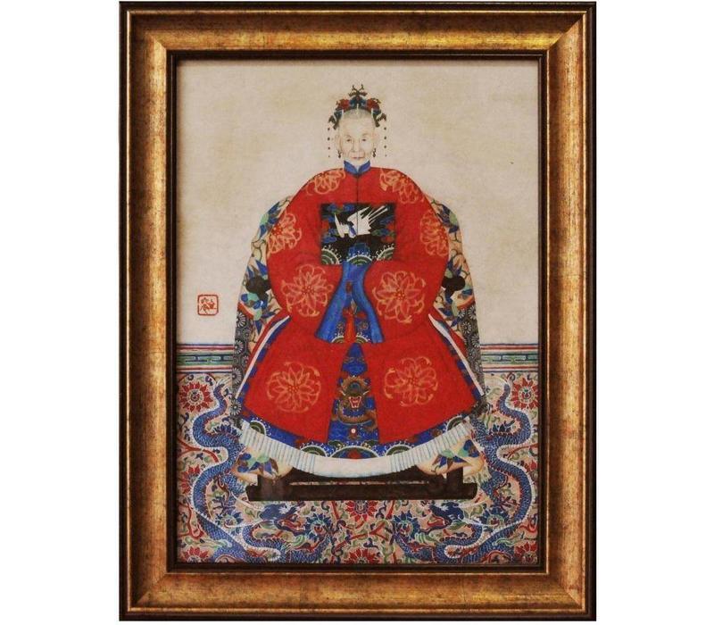 Tableau Chinois Portrait d'Ancerstor Giclée Embelli à la Main L36xH48cm