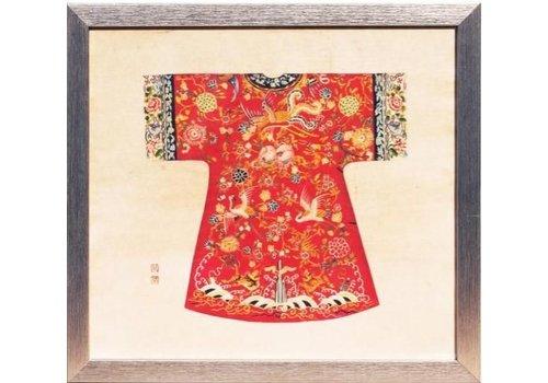 Fine Asianliving Chinees Schilderij met Lijst Chinese Keizerin Kleding Rood B33xH36cm