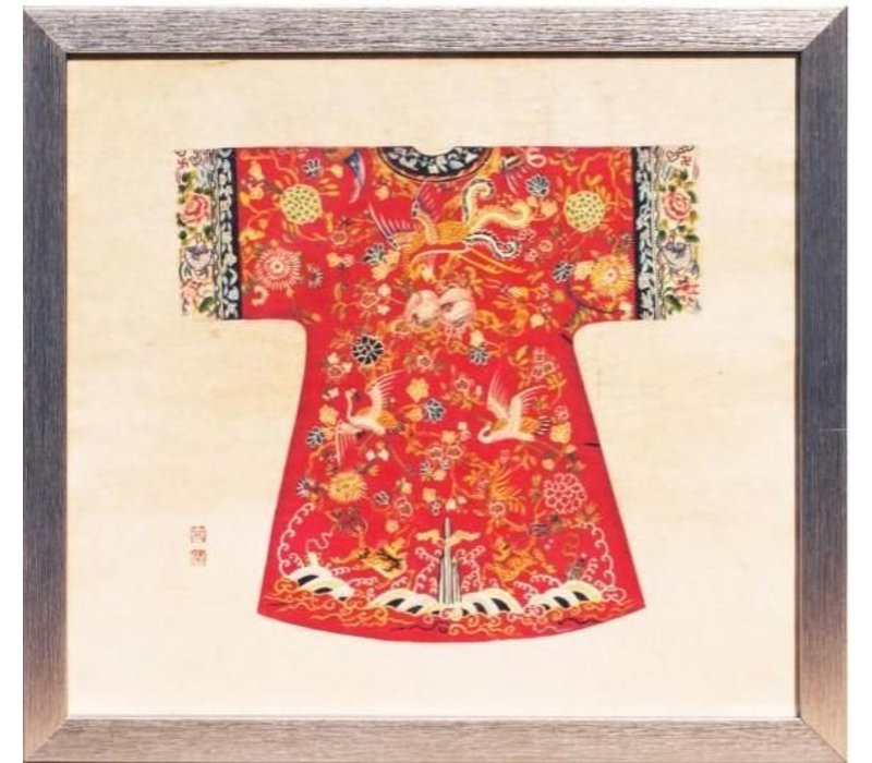 Chinees Schilderij met Lijst Chinese Keizerin Kleding Rood B33xH36cm