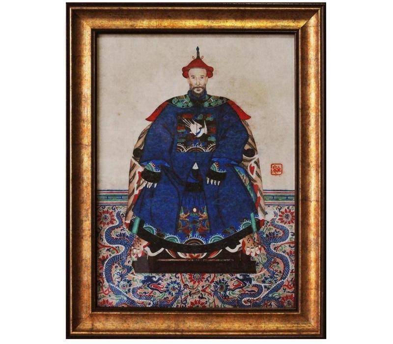 Chinese Voorouderportret Schilderij B36xH48cm Glicee Handgemaakt C