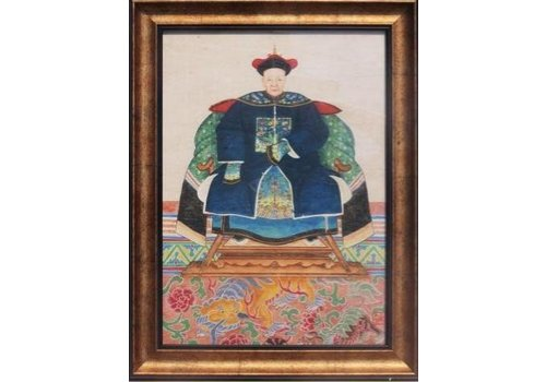 Fine Asianliving Fine Asianliving Chinese Voorouderportret Schilderij B36xH48cm Glicee Handmade