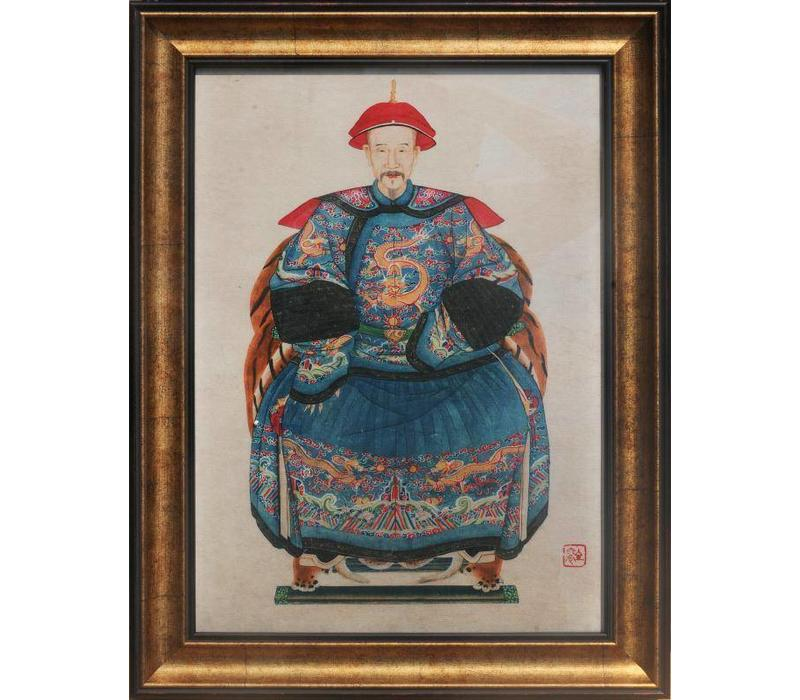 Fine Asianliving Chinese Ancestor Portrait Painting W36xH48cm Glicee Handmade