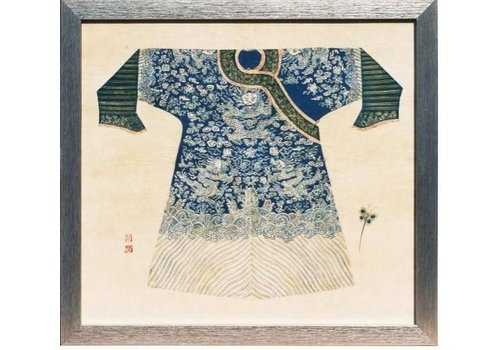 Fine Asianliving Chinees Schilderij met Lijst Chinese Keizer Kleding Blauw B33xH36cm