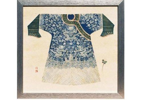 Fine Asianliving Tableau sur Toile Décoration Murale Chinois Encadré empereur chinois Vêtements Marine L33xH36cm