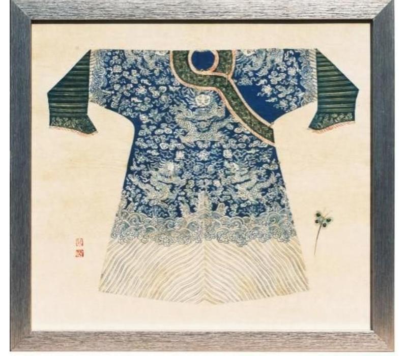 Chinees Schilderij met Lijst Chinese Keizer Kleding Blauw B33xH36cm
