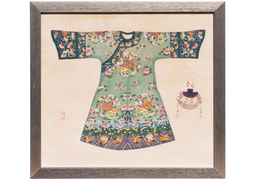 Fine Asianliving Chinees Schilderij met Lijst Chinese Jurk Mint B33xH36cm
