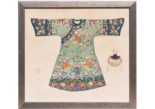 Fine Asianliving Tableau sur Toile Décoration Murale Chinois Encadré robe Chinoise Menthe L33xH36cm