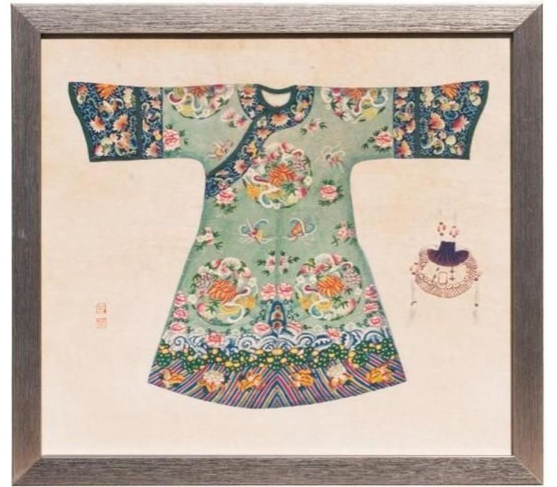 Chinese Painting with Frame Chinese Dress Mint W33xH36cm