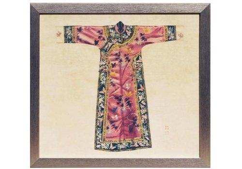 Fine Asianliving Chinees Schilderij met Lijst Chinese Qipao Jurk Roze B33xH36cm