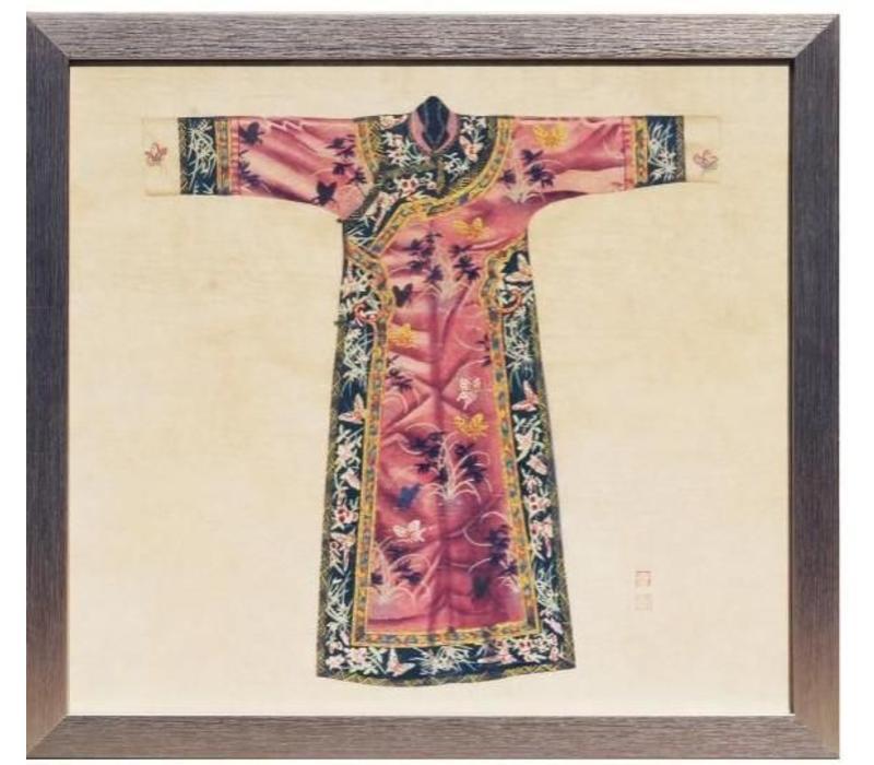 Chinees Schilderij met Lijst Chinese Qipao Jurk Roze B33xH36cm