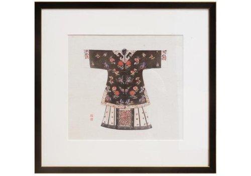 Fine Asianliving Tableau sur Toile Décoration Murale Chinois Encadré chinois Vêtements Noir L43xH43cm