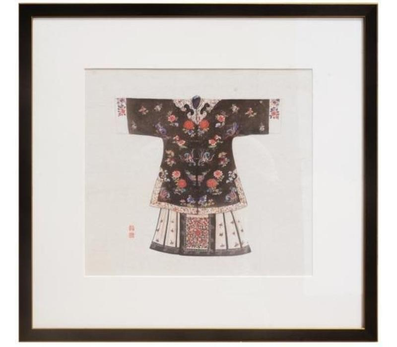 Chinees Schilderij met Lijst Chinese Kleding Zwart B43xH43cm