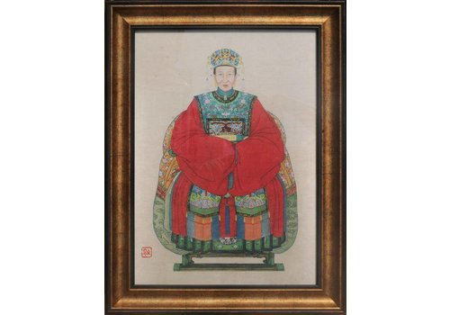 Fine Asianliving Chinese Voorouderportret Schilderij B36xH48cm Glicee Handmade A