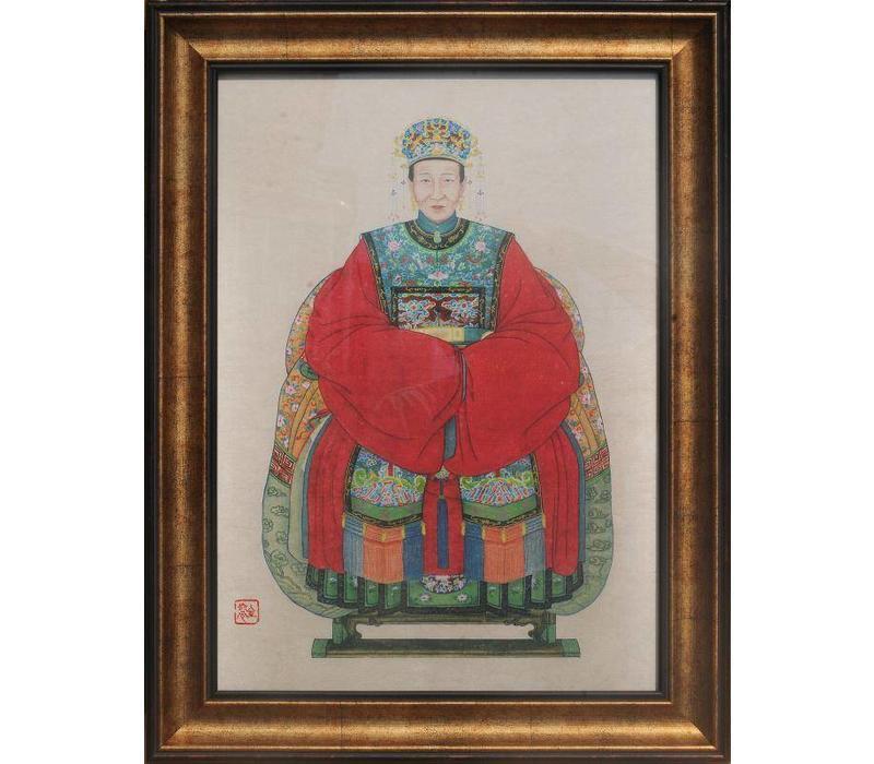 Tableau Chinois  Portrait d'Ancêtre Giclée Embelli à la Main L36xH48cm
