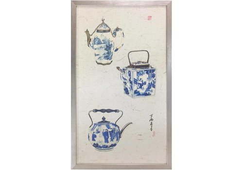 Fine Asianliving Chinese Painting 3 Blue Pots