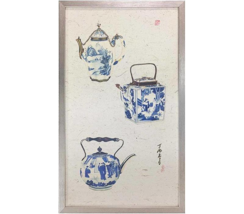 Chinese Schilderij 3 Blauwe Potten