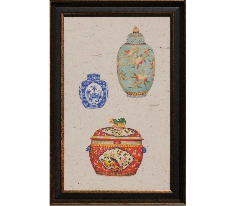 Chinees Schilderij met Lijst Chinese Porselein Potten Multicolour B41xH68cm