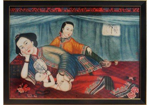 Fine Asianliving Schilderij Chinese Vrouwen Links