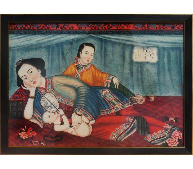 Schilderij Chinese Vrouwen Links