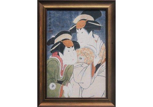 Fine Asianliving Tableau sur Toile Décoration Murale Japonais Encadré japonais Mesdames L36xH58cm