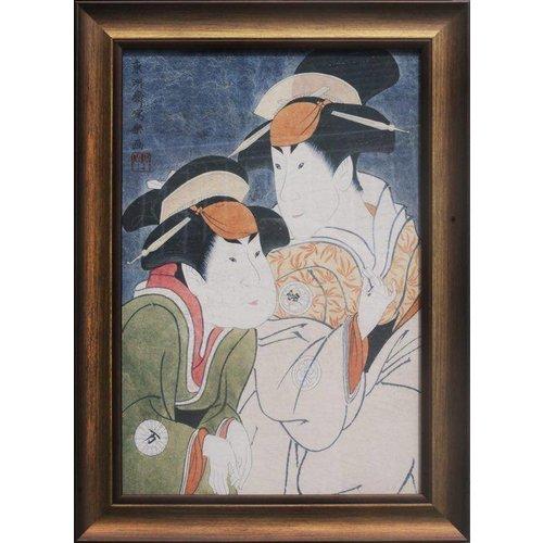 Fine Asianliving Oriental Painting Handpainted Japanese Women Framed Wall Decor 50x36.5cm