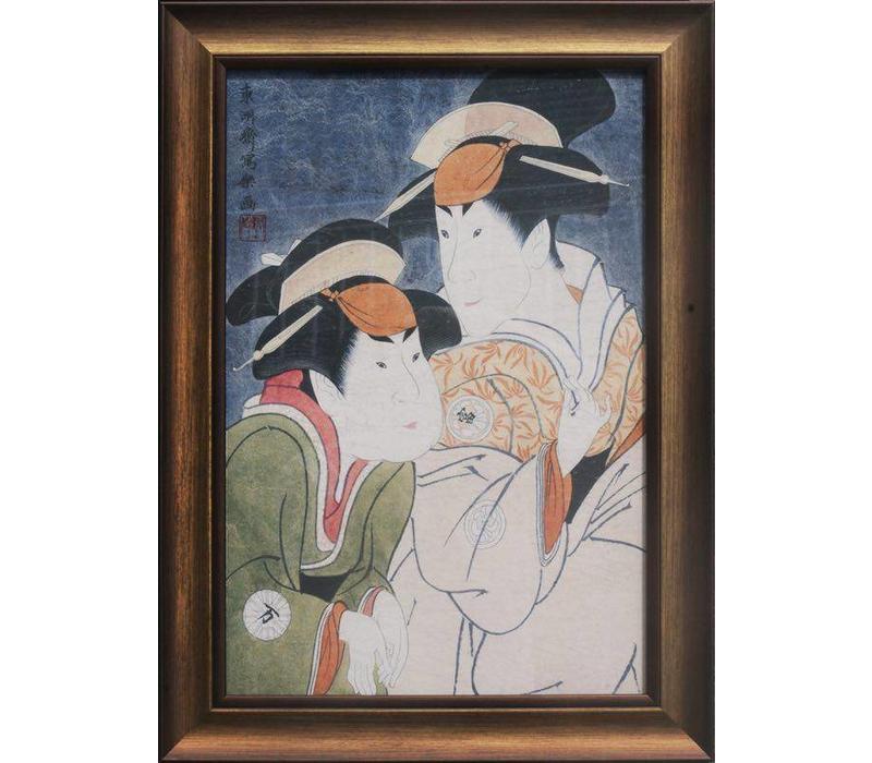 Japans Schilderij met Lijst Japanse Vrouwen B36xD3xH58cm