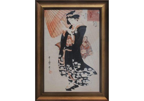 Fine Asianliving Japanese Painting Black Dressed Woman White Umbrella