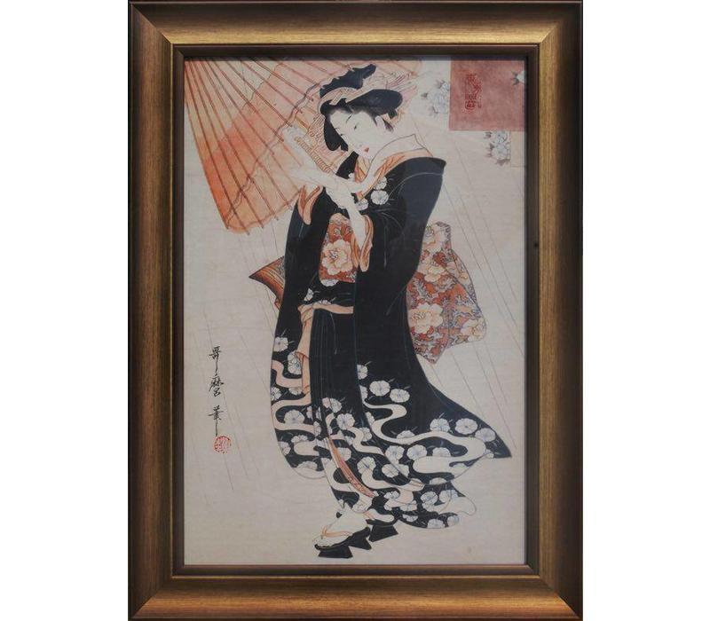 Tableau sur Toile Décoration Murale Japonais Encadré dame japonaise avec Parasol L36xH58cm