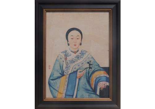 Fine Asianliving Chinees Schilderij in Lijst Chinese Lady B32xH42cm