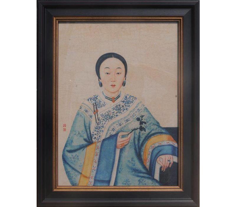 Chinees Schilderij in Lijst Chinese Vrouw B32xH42cm