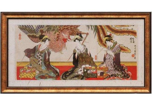 Fine Asianliving Japanse Schilderij van 3 vrouwen