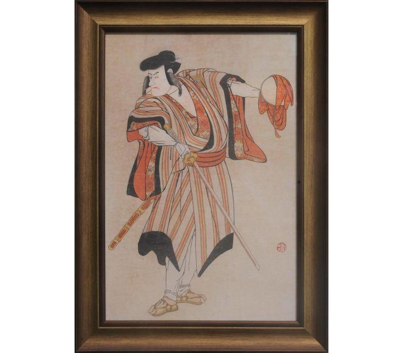 Japanese Painting Framed Wall Decor Warrior with Catana Sword W36xH58cm