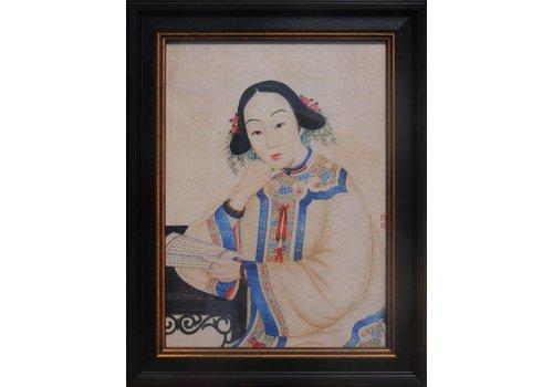Fine Asianliving Chinees Schilderij van Vrouw in Wit en Gele Kledij