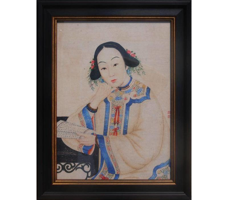 Chinese Painting Framed Wall Decor Chinese Madam W32xH42cm